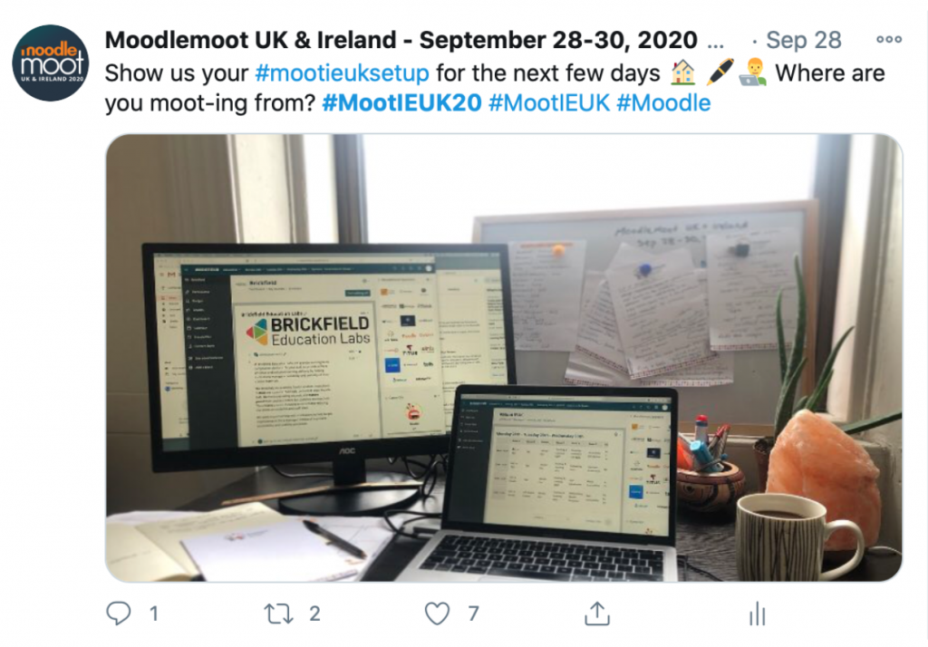 MoodleMoot UK & Ireland Tweeted: Show us your #MootIEUKsetup for the next few days. Where are you moot-ing from? #Mootieuk20 #MootIEUK #Moodle