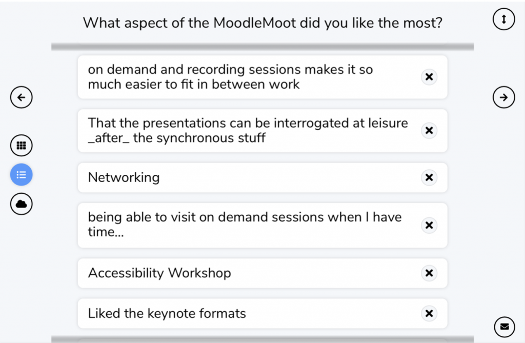 """Screenshot from wooclap, answers submitted included """"networking"""" On demand and recording sessions make it so much easier to fit in between work"""" and """"accessibility workshops"""""""