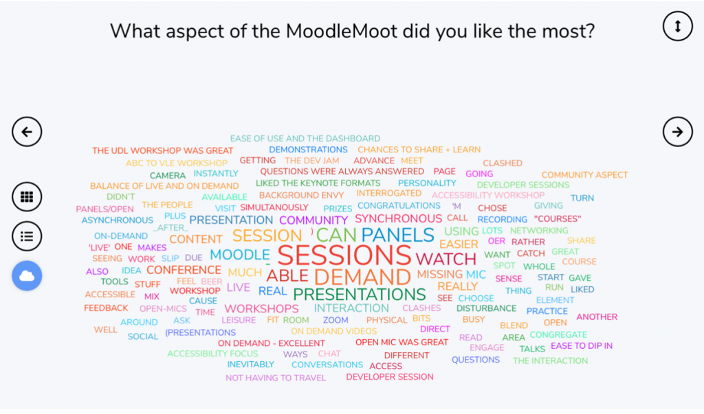 Screenshot from wooclap answers including community sessions demand expertise