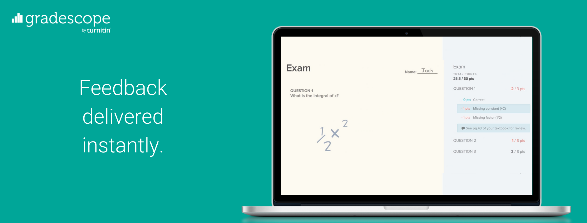 """Gradescope infographic reading """"Feedback delivered instantly"""""""