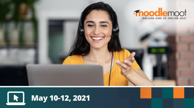 Graphic shows woman smiling on a computer, with MootIEUK logo and dates reading May 10-12, 2021